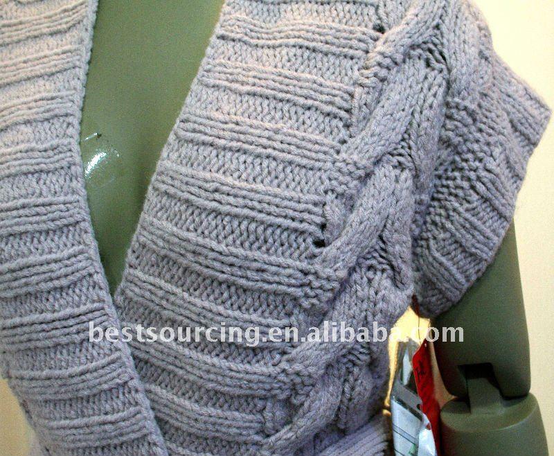 de lana de cachemira loose fit chunky cable suéter tejido a mano con