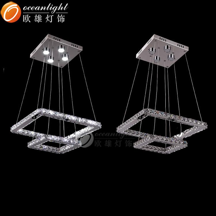 LED oval crystal chandelier silver pendant light Om77027