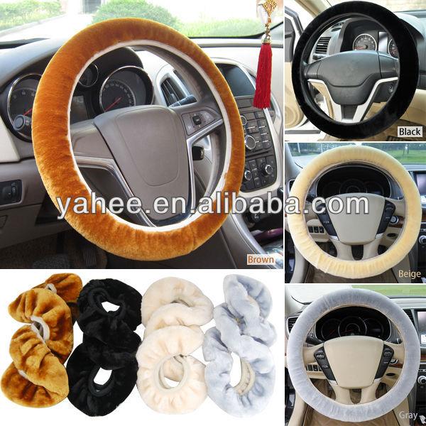 Plain Car Fur Steering Wheel Cover Furry Fluffy Fur Truck SUV, YRC103A
