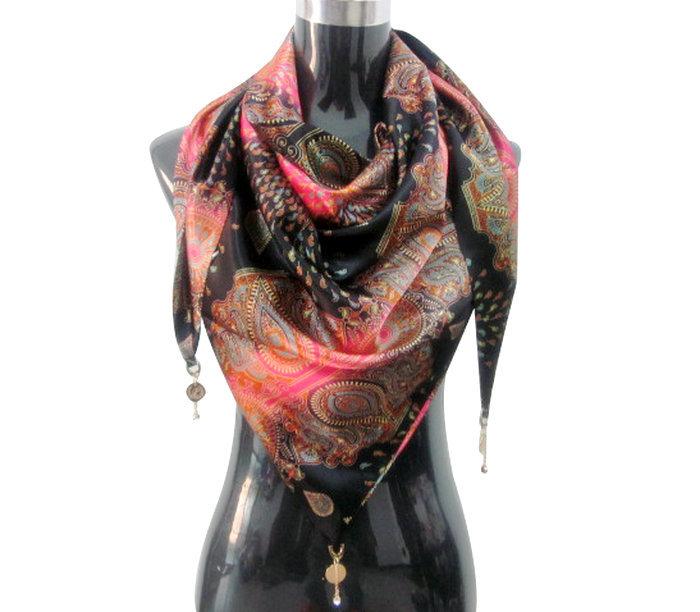 grand triangle foulard printemps automne femmes la mode charpe magique cape double face soie. Black Bedroom Furniture Sets. Home Design Ideas