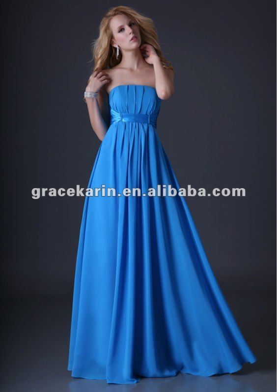 2014 Strapless Blue Chiffon Long Evening dresses CL3458