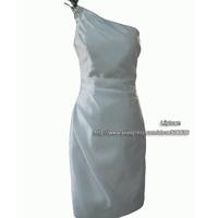 Elegant Customized Sheath One Shoulder Knee Length Satin Feather Red Carpet Celebrity Dresses Mother Dress Little White Dress