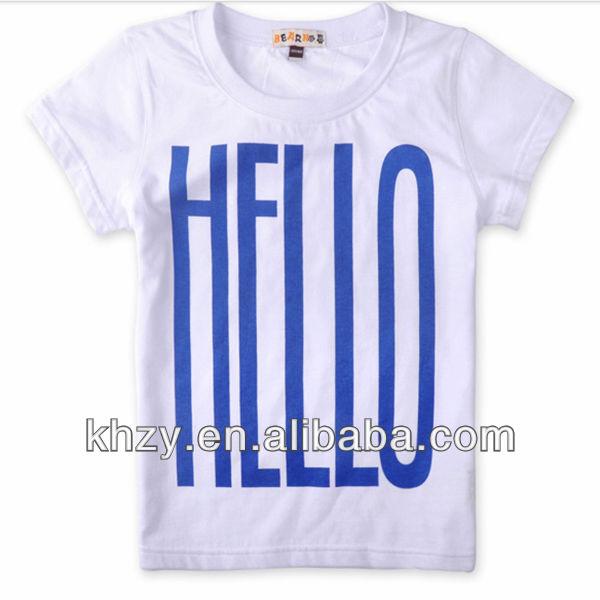 2013 fashion 100% cotton korea printed bulk children t-shirt