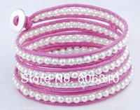Beaded Bracelet FB024, New Arrival Wholesale 1pc Handmade Waxed cording Fashion Pearl Bracelet 33inch