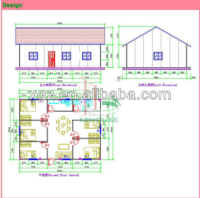 Slop roof steel structure prefabricated villa