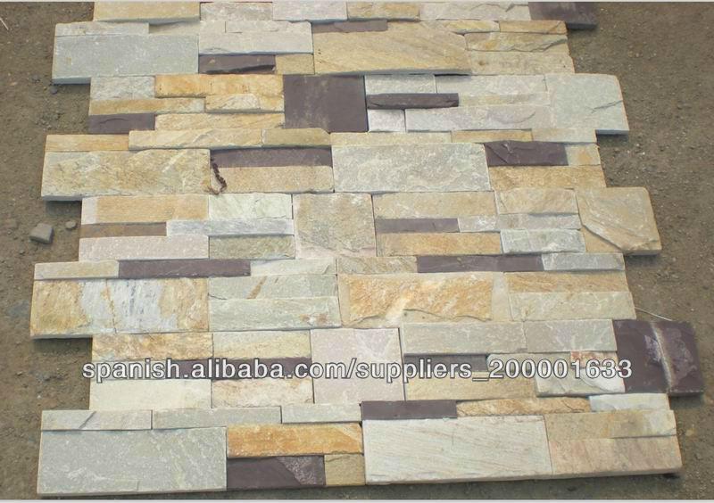 Pizarra apilada instalen piedras piedra cultural para - Revestimiento en piedra para exterior ...