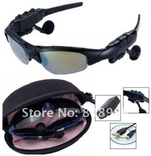 Wholesales  New 2GB MP3 Sport Sun Glasses Headset MP3 Player Sunglasses Black Fashion Style Free Shipping