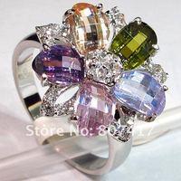 Мода перидот розовый морганит синий 925 серебряных драгоценных камней кольца d r417 sz #6 7 8