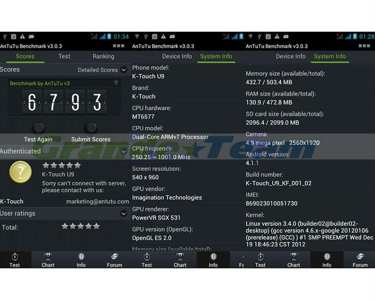 """k-touch mobile phone U9 Shockproof/Dustproof/waterproof 4.5"""" MTK6577 dual core phone"""