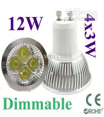 Free ship by DHL Dimmable LED Lamp GU10 4X3W 12W Light Bulbs High Power light 20pcs/lot