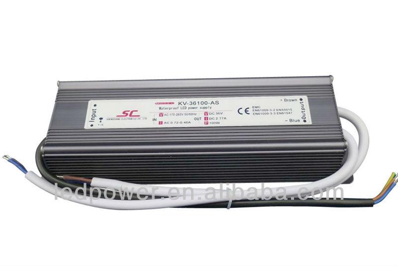 KV-36100-AS 36v led power driver 100W 2.77A PFC EMC IP67