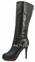 2012 Sexy boots, lady knee high Pointed Toe High Heels, Women Zip Leather Shoes, High Quality Pumps, Black