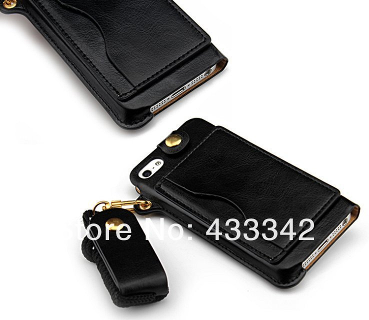 Luxury Card Stand Leather Neck Pouch for iPhone 5 5S