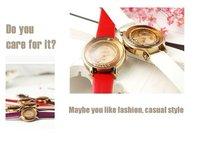 Мода женщины дамы новый стиль смотреть корейский Ницца запустить имитация алмаза кожаный пояс смотреть. горный хрусталь relojes