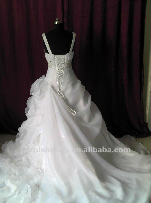 Whosale Deep V Neck Appliqued lace A-line wedding dress