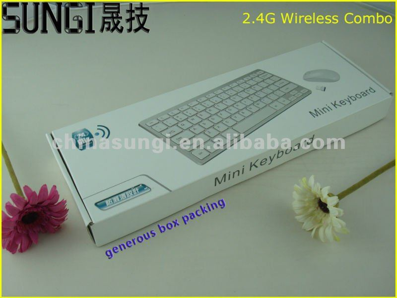 Hot selling 2.4G White Wireless keyboard mouse