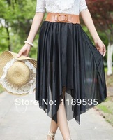 Женская юбка NEW Sexy Women's Asymmetrical Soft Chiffon Skirt Bohemian Princess Pleated Knee-Length Maxi Skirts 6colors
