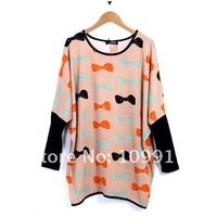 Футболка Women's Batwing Sleeves Top Bowknot Print Loose Sweater Shirt Knits Tunic Blouse HR423