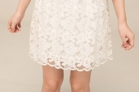 Одежда и Аксессуары S-XL! 2013 New style Women & Lady Party wedding & Casual Lace dress/Half sleeve, Embroidery knee-length white evening dress