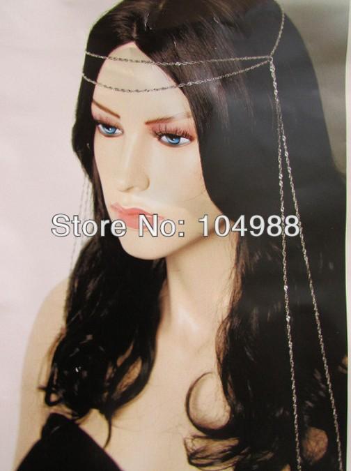 WOMEN SILVER LONG HEAD CHAIN FASHION CONTEMPORARY RETRO LOOK THIN SHINY CHAINS