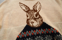Женский пуловер 2013 new winter women's College Wind rabbit loose round neck jacquard pullover sweater