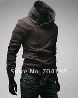 2013 men's outer wear oblique zipper with a hood sweatshirt slim sweatshirt men's jacket free shipping