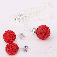 Ювелирный набор Good Price Red Crystal Ball shamballa bracelet jewelry set, Bracelet+Earring+Necklace, Factory Price