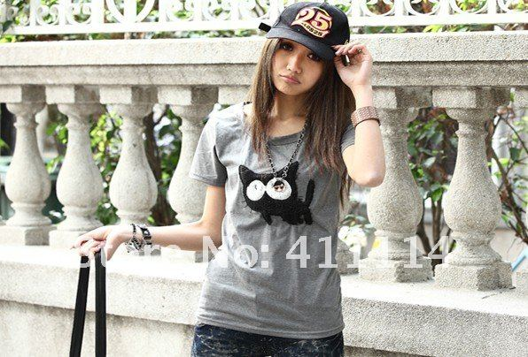 2012 new hot summer Fashion Cozy women clothes Cute cartoon cats Knitting Tops Tees Футболка  FREE SHIPPING