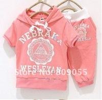 Комплект одежды для девочек Baby suit s girls boys cream 369 short sleeve hoodies pants 2pcs clothing set childrens