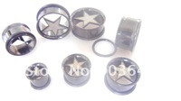 Lot 50pcs Body Jewelry -ALL Black STAR Ear Tunnels Expanders  Ear Plugs with One O Ring Free Shippment