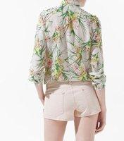 Женская одежда Women Floral Print Shirts Long Sleeve Turn-down Collar Shirt Ladies' Fashion Brand Blouses Revit Casual Tops
