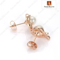 New Arrival,Free Shipping Ladies Jewelry 18K Rose Gold Plated Swarov Crystal Heart Ocean Pearl Stud Earring E246R1