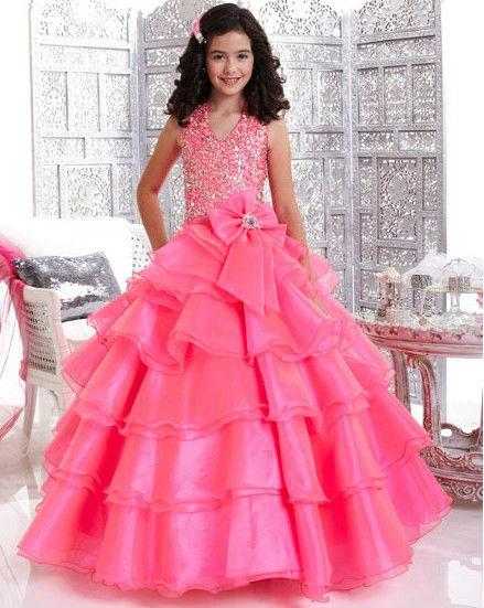 2013 perlen ballkleid mädchen mode kinder partei zu tragen kleid