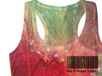 Track Ship+Vintage Retro Cool Vest Tanks Tank Camis Rock&Roll Punk Graffiti Shiny Psychedelic Starry Sky Cosmos