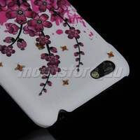 FLORAL PATTERN HARD RUBBER BACK CASE COVER  FOR HTC ONE V  FREE SHIPPING