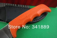 Hot! Black/Orange Kershaw Fixed Blade Knife, 8Cr13MOV Blade, Rubber Handle, Survival Knife, Hunter Knife, Camping Tool