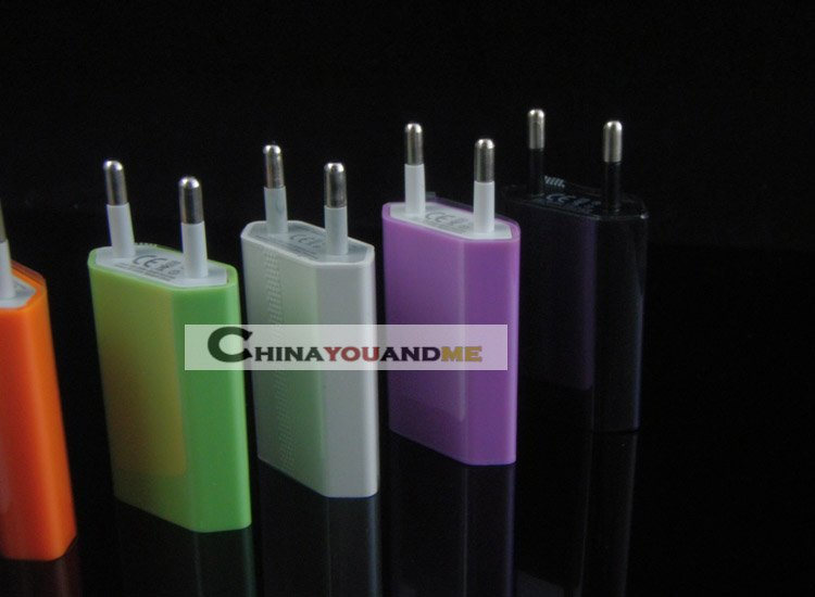 colorful EU Wall Charger /ac adapter /home charger for iPhone 3G 3GS 4G 4GS for all iPod (EU) 300pcs/lot Free shipping by DHL