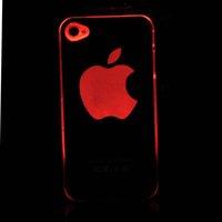 10шт/много 6 цветов изменить логотип смысл вспышки привело света покрытия кожи чехол для apple iphone 4s 4 g 4 стилей