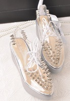 Туфли на высоком каблуке 2012Jeffrey Campbell transparent rivets thick crust muffin shoes