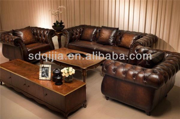style amricain meubles de salon classique luxe chesterfield canap en cuir brun ensembles - Salon Americain