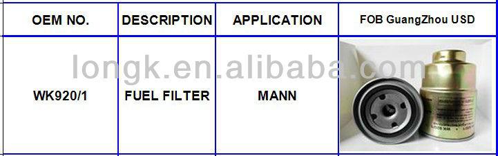 Auto/Car/Truck OIL FILTER ,WK920/1 oil filter