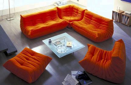 Classique d 39 orange togo canap canap salon id de produit 342646390 frenc - Imitation canape togo ...
