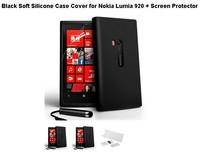 Чехол для для мобильных телефонов Black Soft Silicone Case Cover for Nokia Lumia 920 + Screen Protector