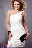 Платье на выпускной Custom Made Top Quality Custom Made Top Quality Natural Waist Zipper Up Satin Sleeveless One Shoulder Graduation Dress