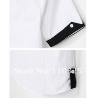 Free Shipping 2012 New Mens shirt + Men's Casual Slim Fit Stylish Hot Dress Shirts ,short sleeve ,2 Colors:3 Size wholesale SMS4