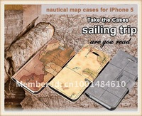 Чехол для для мобильных телефонов Luxury Book Nautical Map Leather Wallet Mobile Phone Case Cover for iPhone 5 5G iphone5 iphone5G