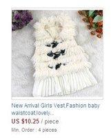 2013 autumn/winter Children vest girl's fashion soft fur vest with Belt 2013children coat / Girls vest
