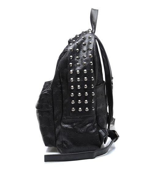 #449 Punk Skull Printed Studded PU Leather Backpack 2.jpg