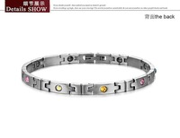 Браслет из нержавеющей стали fashion anti-fatigue energy magnetic bracelet for woman multicolor CZ diamond inlaid health care jewelry 3389