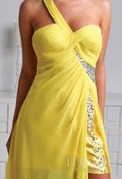Топ обновленный дизайн моды упругой платье атласная Коктейль желтый одно плечо платье